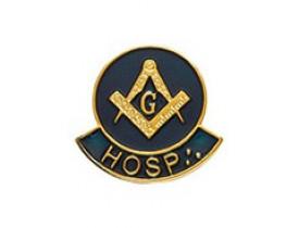 ALFINETE HOSPITALEIRO ESQUADRO E COMPASSO AZUL